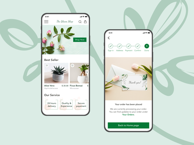 The Bloom Shop elegant flowers plants shop ecommerce application sketchapp mobile ui mobile app minimal ui mobile flat app design