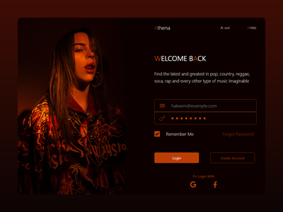 Daily UI 102 - Athena Music musician login music player brown orange music app music product page concept xd website minimal flat landingpage web ui design
