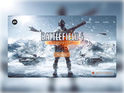 Daily UI 125 - Battlefield 4 Website gaming games uidesign uxdesign ux uiux xd website flat landingpage web ui design