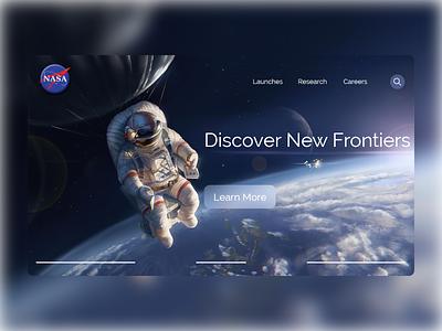 Daily UI 129 - Nasa astronaut space nasa concept ui design uidesign website xd flat landingpage ui web design