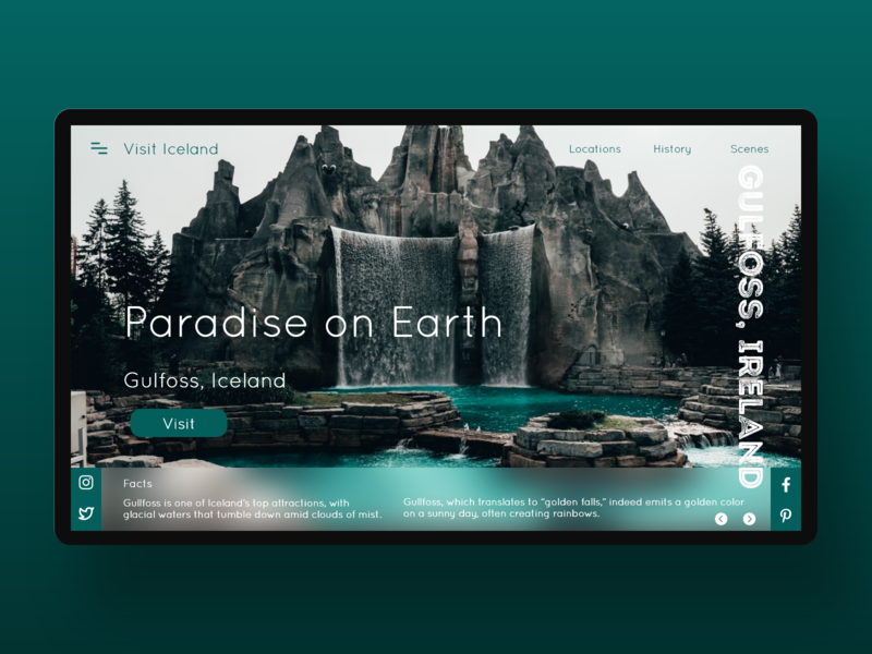 Daily UI 131 - Iceland Travel Site travel uidesign uxdesign concept website xd flat landingpage web ui design