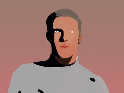 John animation poster futuristic space life future contemporary editorial art illustration