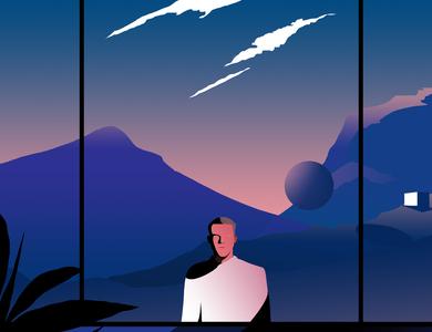 The Stranger vector print poster futuristic space life future contemporary editorial illustration