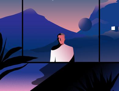 The Stranger poster futuristic digital space life future print contemporary editorial illustration