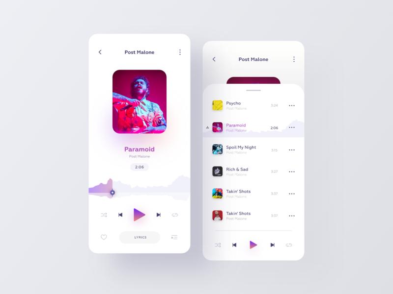 Music Player agency website webdesign website inspiration minimalist app music player music app interaction ux design ui design product design application app design