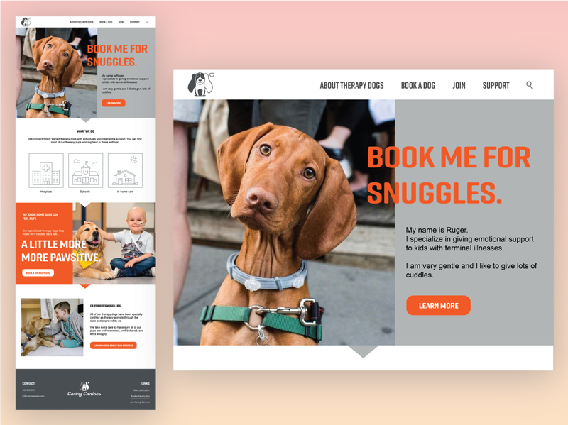 Homepage Design for Caring Canines day003 003 30daychallenge website uidesign ui