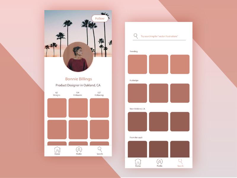 Peach-Toned User Profile and Search Page Mock Up mobile ui profile screen 005 uichallenge illustration design 30daychallenge ui design ui