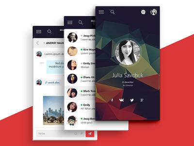 Application - Professional social network massanger profile design ux ui android ios mobila app application network social