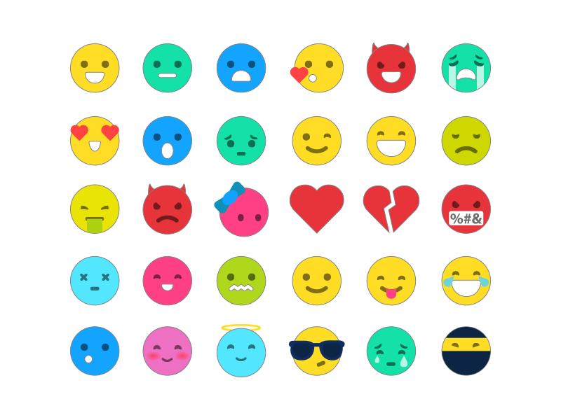 Emoticons free AI, PSD download flat psd smiles icons illustrarion emoji file freebie ai free emoticons