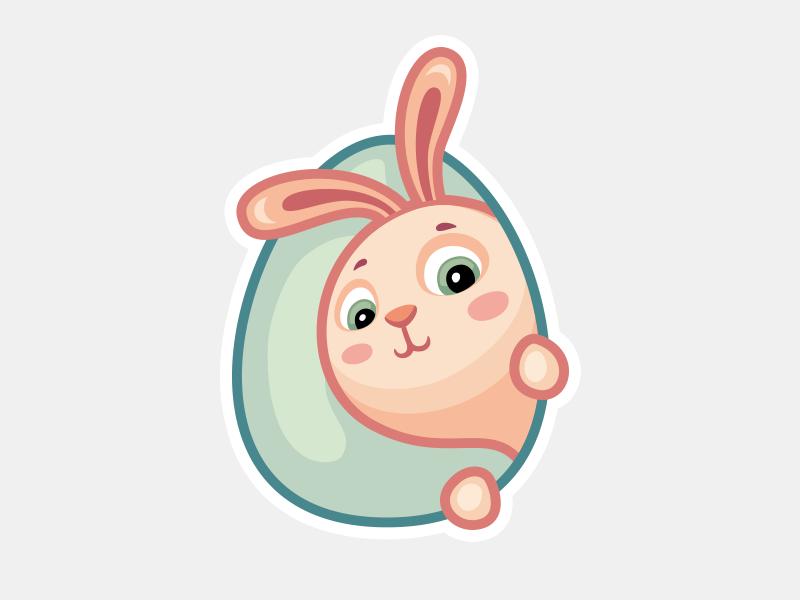 Easter Bunny (stickers set for ICQ) rabbit easter egg hole animal wzwz illustrator icq