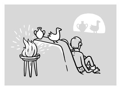 Plato's Сave grey bw illustration