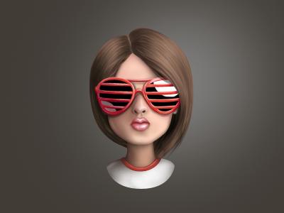 Girl girl grey red illustration