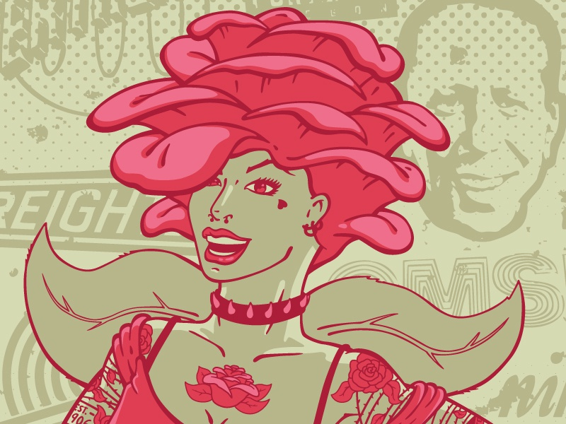 2013 Rosey Poster rosey rosey awards pdx paf lifesize illustration vector rose portland poster