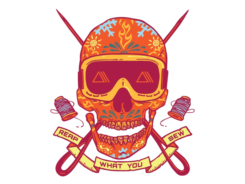 Reap what you Sew illustration skull screen print apparel outdoor retailers polartec
