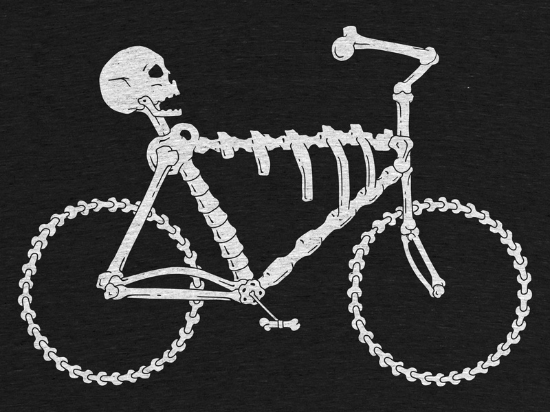 Bonecycle Tee screenprint t-shirt skeleton bicycle bones skull cotton bureau apparel