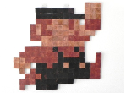 Wooden Mario pixel video games rockhart wood sculpture
