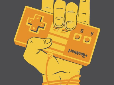 Unplugged rockhart illustration video games t-shirt nes rock