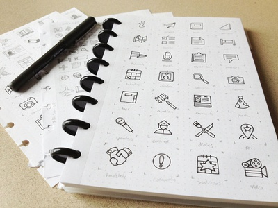 Icon Set (lines) sketch icon set hand drawn sketchbook