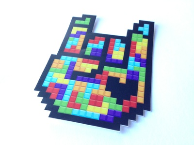 Rockhart Tetris Sticker rockhart sticker apparel gaming retro pixel tetris