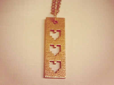 Necklace Concept 3-d printing metal rockhart pixel 8-bit video games heart