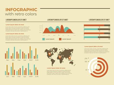 Infographic with retro colors new free design free vector vintage retro retro color vector ux illustration ui infographic icon design branding app