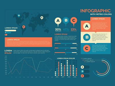 Infographic with retro colors freepik new vector free vectors vector ui illustration new free vector infographic icon design branding app