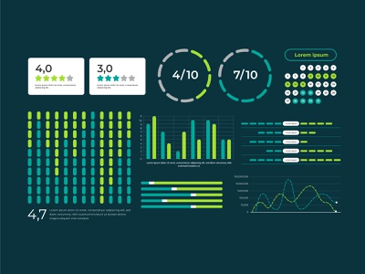 Dashboard element collection template dashboard logo ux vector ui free vector app infographic icon design
