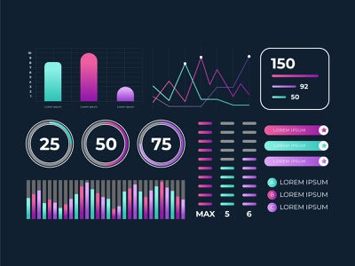 Dashboard element collection template illustration icon ux vector ui freepik free vector app infographic design dashboard