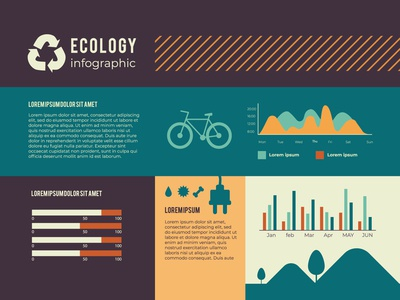 Infographic with ecology in retro colors