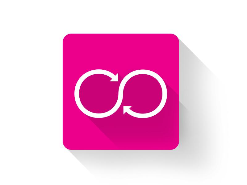 Revolve Look App Icon icon app infinity flat design