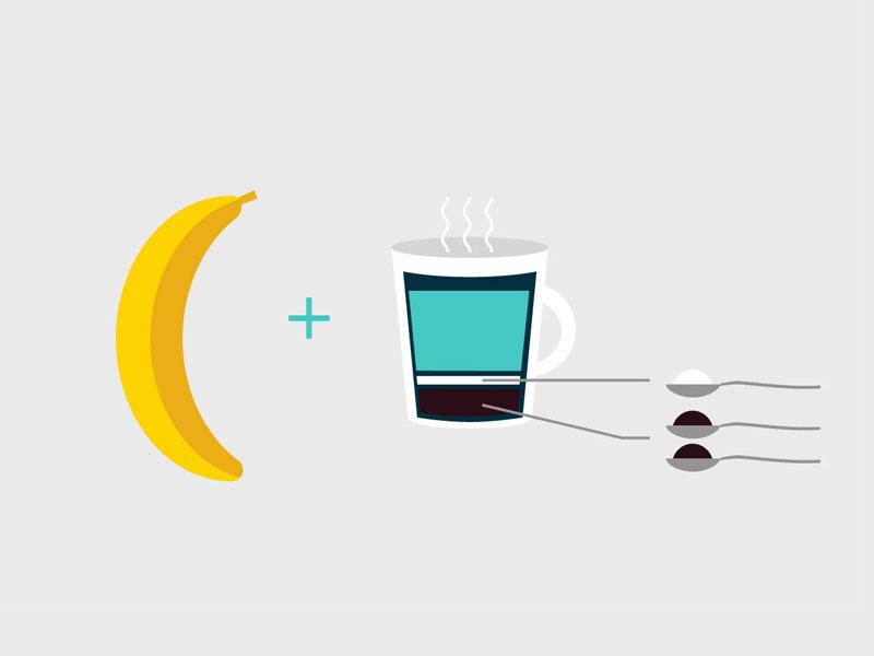 Breakfast breakfast banana coffee infography flat food drink