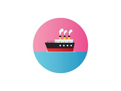 Inmigration 1925 boat ship ocean sunset vector illustration flat circle icon