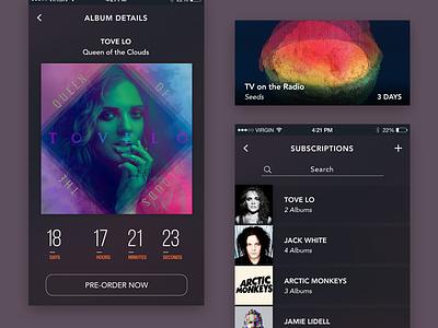 Releasify countdown feed apple ios dark music album ux ui