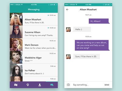 Chat Interface message interaction social ios chat ux ui