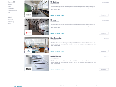 Uptrail Search Results job board advertisment ad job ux clean minimal web ui