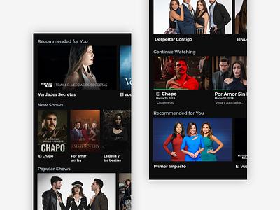 Univision Main Feed Elements dark dark ui ios feed streaming mobile vod video