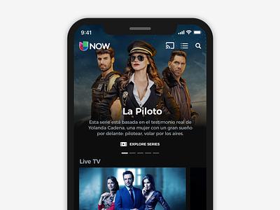 Univision Hero Section dark hero ui  ux mobile app ios streaming mobile vod