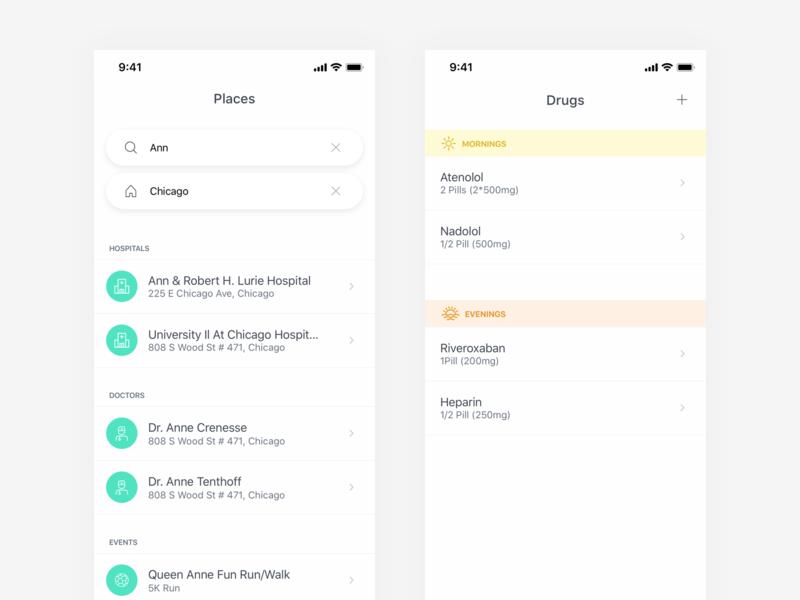 Heart Health Tracking App mobile health ios ux clean minimal ui