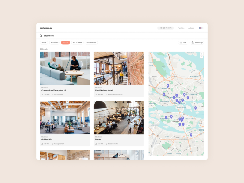 Conference Booking Search map hotel airbnb search booking ux web minimal clean ui