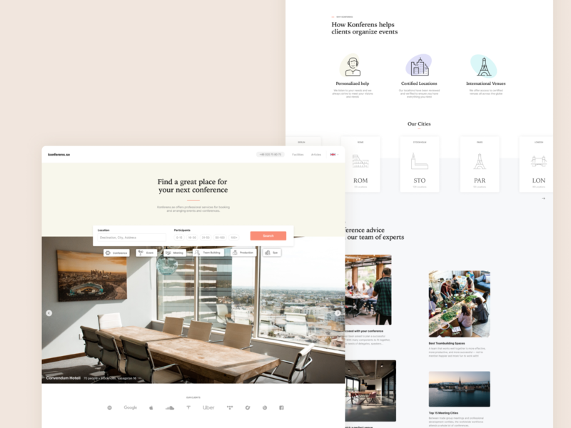 Conference Booking Homepage homepage landing maps airbnb hotel booking conference design web ux minimal clean ui