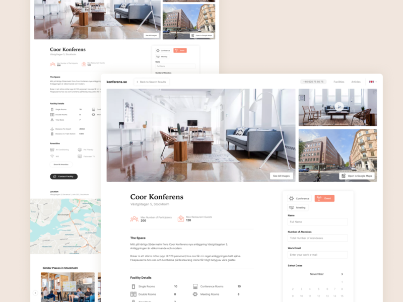 Conference venue detail page airbnb hotel booking conference product design web ux minimal clean ui