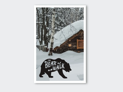 Postcard bear on a walk