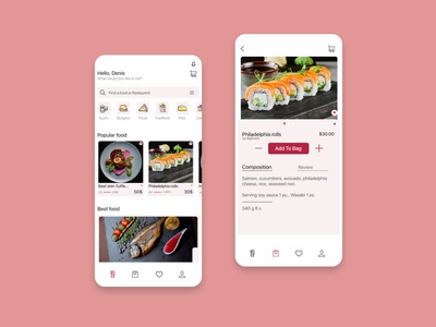 App design for delivery food