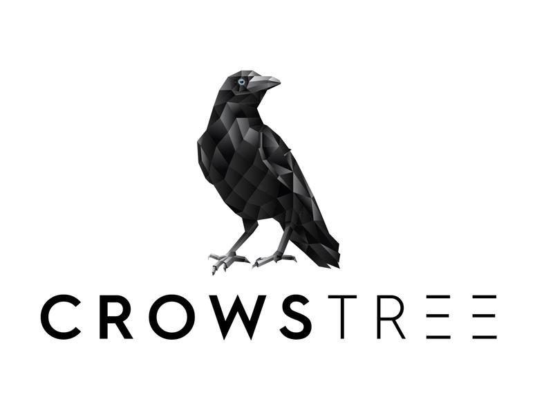 CROWSTREE - Logo Design geometric crow polygonal crow crow crow logo geometric logo illustrator polygonal logo branding illustration logo design