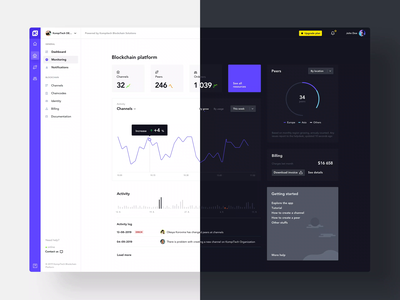 KompiTech Platform light & dark theme exploration motion dark dashboard dashboard ui design black white webdesign ux ui clean
