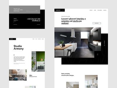 Armony studio CZ clean design uiux clean ui design minimal black  white black clean