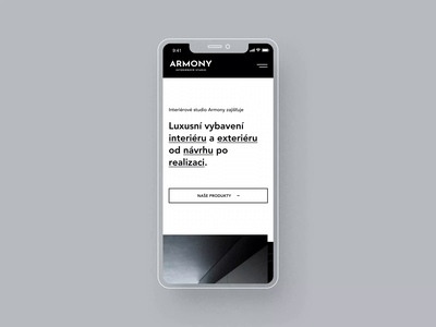 Armony Studio mobile version mobile phone responsive design responsive black white ux ui clean