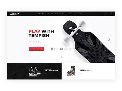 Tempish website black and white webdesign inline skates layout ui ux