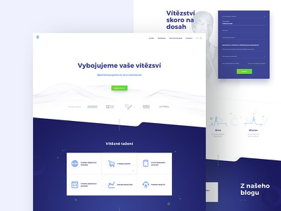 Digital agency navy clean white green blue design webdesign