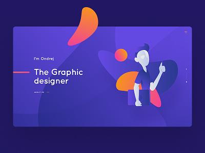 Portfolio landing page orange ux ui clean purple webdesign
